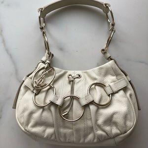Yves Saint Laurent Small White 3 Ring Shoulder Bag